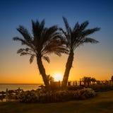 Lever de soleil sur la Mer Rouge, Marsa Alam, Egypte Photo stock