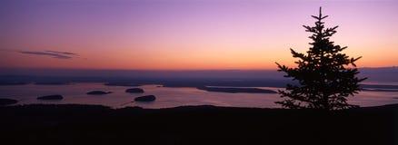 Lever de soleil sur la montagne de Cadillac, Maine Images libres de droits