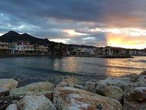Lever de soleil sur la plage, Malaga, Andalousie, Espagne Image libre de droits