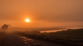 Lever de soleil sur la route Photographie stock libre de droits
