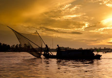 Lever de soleil sur le fleuve de Mekong Image libre de droits