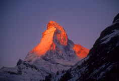 Lever de soleil sur le Matterhorn Photographie stock