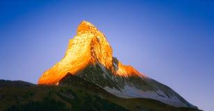 Lever de soleil sur le Matterhorn photographie stock libre de droits