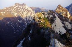 Lever de soleil sur le mont Hua Shan Images stock