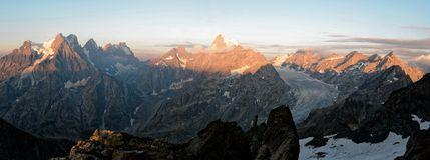 Lever de soleil sur le parc national d'Ecrins photos libres de droits