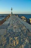 Lever de soleil sur le vieux phare Images stock