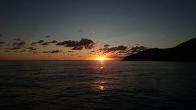 Lever de soleil sur les îles éoliennes Photo stock