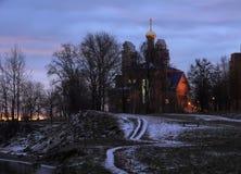 Lever de soleil sur les banques du Neva Photo libre de droits