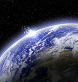 Lever de soleil sur terre Image stock