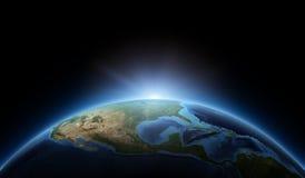 Lever de soleil sur terre Images stock
