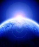 Lever de soleil sur terre de planète Image libre de droits