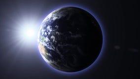 Lever de soleil sur terre de planète illustration libre de droits