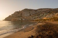 Lever de soleil sur une plage à Aguilas, Murcie Images stock