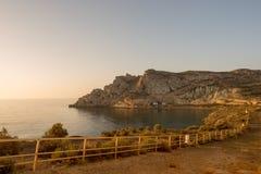 Lever de soleil sur une plage à Aguilas, Murcie Photographie stock libre de droits