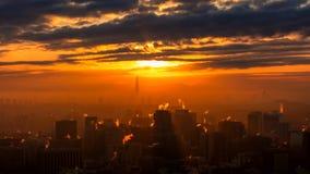 Lever de soleil de ville de Séoul avec la tour de Lotte World en hiver Séoul Corée du Sud photo stock
