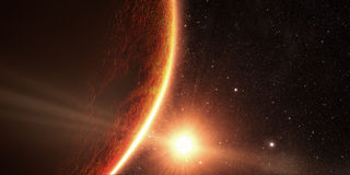 Lever de soleil vu de l'espace sur le venus Photos stock