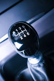Lever of manual  transmission in auto, vehicle. Stock Images