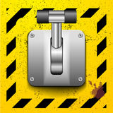Lever switch. Detailed illustration of a lever in upright position on a yellow construction style background Royalty Free Stock Image