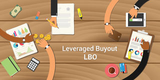 Leveraged buyout illustration team work together with a hand working together on top of wooden table work on paperwork Stock Photos