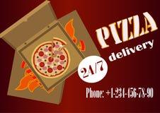 Leverans av pizza vektor illustrationer