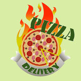Leverans av pizza stock illustrationer