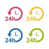 Leverans 24 timmar symbolsuppsättning för tjänste- lägenhet - färgrik vektorsamling - som isoleras på vit Royaltyfria Foton