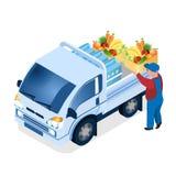 Leveransarbetare som laddar den isometriska illustrationen för ask stock illustrationer