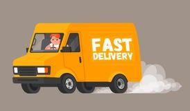 leveransen fast Chauffören på skåpbilen rusar för att leverera godset till kunder och snabbt ritter som bakom lämnar ett moln av  stock illustrationer