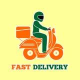 Leveransman som rider en sparkcykel Snabb leveranslogodesign också vektor för coreldrawillustration royaltyfri illustrationer
