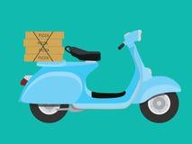 Leveranspizza med vespaen som ska beställas och levereras vektor illustrationer