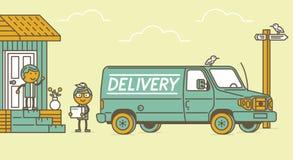 Leveransskåpbil och leveransman Arkivfoton