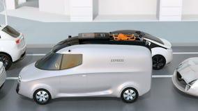 Leveransskåpbil som klibbas i trafikstockning vektor illustrationer
