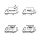 Leveranssymbolsuppsättning Åka lastbil service, beställning, 24 timme, snabbt och fritt Royaltyfria Foton