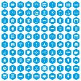 100 leverend pictogrammen geplaatst blauw Royalty-vrije Stock Afbeeldingen
