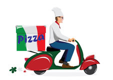 Leverera pizza stock illustrationer