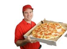 levererad ny varm pizza Arkivbild