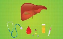 Leverhepatitsjukdom med mediicinepreventivpillerar och sjukvårdsymbolen Arkivbild
