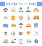Levering en logistiekpictogrammen van het de diensten de vlakke Web stock illustratie