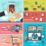 Levering, geld, bank en digitale marketing stock illustratie