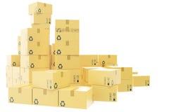 Leverings bedrijfsconcept, stapel van golfdiekartondoos, pakketten op wit worden geïsoleerd het 3d teruggeven Royalty-vrije Stock Fotografie
