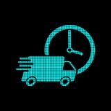 Leverings24h vrachtwagen met klok in pixelstijl logotype Stock Fotografie
