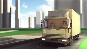Leveringsbestelwagen die op wegen het 3d teruggeven reizen Stock Afbeelding