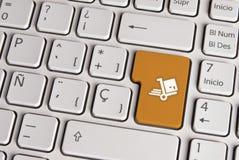 Leveringsconcept, de verschepende sleutel van het kartoetsenbord Stock Afbeelding