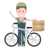 Leveringsjongen met een fiets Royalty-vrije Stock Foto's