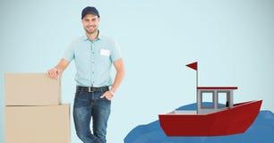 Leveringsmens die op pakketten door 3d boot leunen Stock Foto