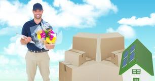 Leveringsmens met pakketten en 3d huis Stock Afbeelding