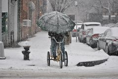 leveringsmens, op fiets in sneeuwonweer Royalty-vrije Stock Afbeeldingen
