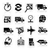 Leveringspictogrammen geplaatst zwart Royalty-vrije Stock Foto's