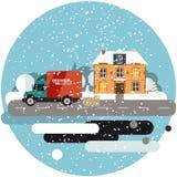Leveringsvrachtwagen met kartondozen dichtbij huis op achtergrond van de winterlandschap Snelle leveringsbanner, vector Stock Afbeeldingen
