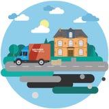 Leveringsvrachtwagen met kartondozen dichtbij huis op achtergrond van de zomerlandschap Snelle leveringsbanner, illustratie Stock Fotografie